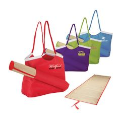 Beach tote & straw mat that stows on the outside of the tote.