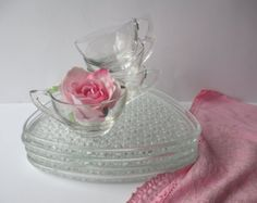 Vintage Indiana Glass Daisy & Button Snack Set for Four - Retro