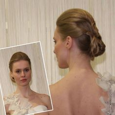 Modern, Twisted Low Bun Wedding Hair. Badgley MischkaThis intricate updo featuring twisted ropes of hair was stunning%u2014it's a great style for a formal wedding held in a warm-weather locale.See the Spring 2012 Badgley Mischka collection.Featured In: Modern, Twisted Low Bun Wedding HairPhoto:  Robert Mitra
