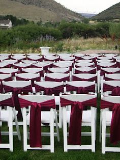 Seated Elegance: Folding Chairs with Burgundy Satin Sashes wedding chairs Maroon Wedding, Burgundy Wedding, Fall Wedding, Wedding Ceremony, Dream Wedding, Beer Wedding, Pavilion Wedding, Tuscan Wedding, Wedding Receptions