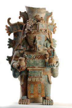 Maya Rise and Fall, Mexico City, National Museum of Anthropology and History, INAH, Censer representing Chaac the rain god, Late postclassic period, Mayapan, Yucatan, Mexico, ceramic