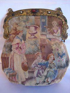 Antique Aubusson Tapestry Purse Rare Multi Figural Scene Children & Puppy Dog