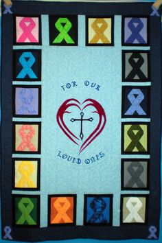 Pictures of Awareness and Comfort Quilts: Cancer Ribbons Quilt