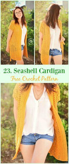 Seashell Cardigan Free Crochet Pattern - #Crochet; Women Summer Jacket #Cardigan; Free Patterns