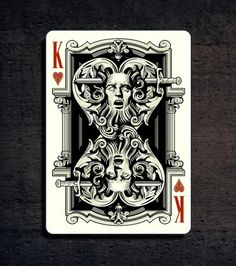Grotesque playing card deck by Lotrek on Kickstarters.  King of Hearts