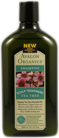 Avalon Organics Scalp Treatment Tea Tree Shampoo. cruelty free.