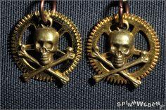 earrings  airship pirates steampunk gear gold brass von SpinnWeben, €9.00