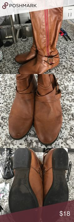 Tall Brown Riding Boots Great condition! Shoes Heeled Boots