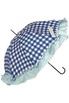 Umbrella with ruffle Vintage Umbrella, Umbrella Art, Under My Umbrella, Blue Umbrella, Cute Umbrellas, Umbrellas Parasols, Walking In The Rain, Singing In The Rain, Gingham Fabric
