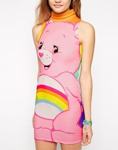 Enlarge Ichiban High Neck Bodycon Dress With Rainbow Care Bear Print