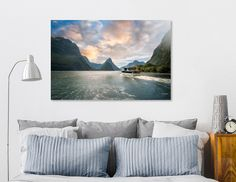 Discover «A Cruise going into Sunset at Milford Sound», Numbered Edition Aluminum Print by Daniela Constantinescu - From $74.9 - Curioos