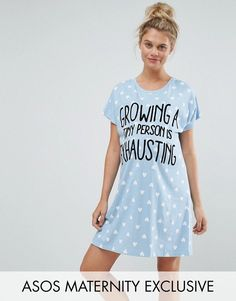 """""""Growing a Tiny Person is Exhausting"""" Maternity Sleep Tee #affiliatelink"""