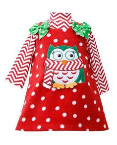 Cozy red fleece jumper with OWL applique and red bows at shoulders, paired with white-red chevron top by Bonnie Jean - adorable for little girls for #Christmas and all winter long! (sz.12m-6x)