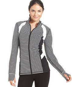 Ideology Striped High-Low Track Jacket