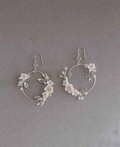 Bridal Statement Earrings Floral Bridal Earrings Statement Hoop Earrings hoop earrings wedding j - Bridal Statement Earrings Floral Bridal Earrings Statement Hoop Earrings hoop earrings wedding j - Cute Earrings, Bridal Earrings, Statement Earrings, Hoop Earrings, Simple Earrings, Wedding Accessories, Wedding Jewelry, Jewelry Accessories, Jewelry Design