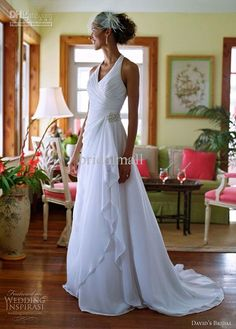 Wholesale Casual informal ruched halter V neck chiffon beach style white bridal wedding dress bride dress, Free shipping, $157.95/Piece | DHgate