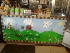 An old counter that I painted for our restuarant.