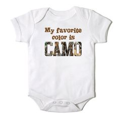 My Favorite Color is Camo Baby Boy Baby Bodysuit on Etsy, $14.00