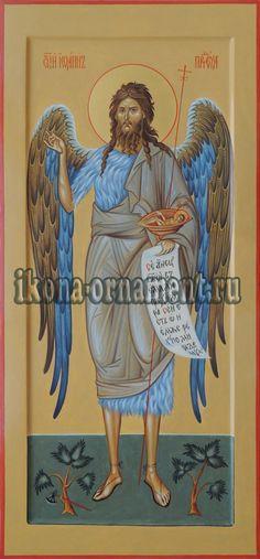 "Икона ""Святой Иоанн Предтеча (Креститель) Ангел Пустыни"". Byzantine Icons, Orthodox Icons, Ornament, Angel, Baseball Cards, Sketches, Art, Art Background, Decoration"