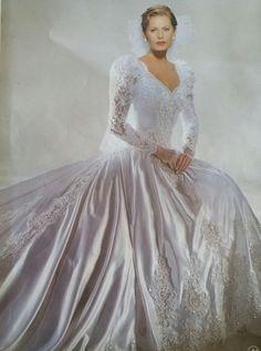 6f1ec16e180 Eddy K . 1996 gown with pearl neckline. Ashley Mosher-Holzhei · weddings