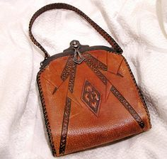 Antique Vintage Art Nouveau Purse Tooled Leather Arts by luvintage