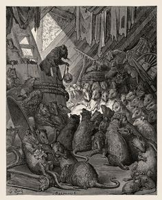 The Council of the Rats, engraving Paul Gustave Doré
