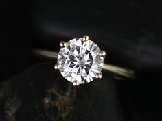 Skinny Webster 14kt Yellow Gold FB Moissanite Six-Prong Webbed Engagement Ring (Other metals and stone options available) on Etsy, $1,275.00