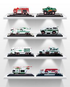 Hess Miniature Trucks are small-scale replicas of our previously released Holiday toys – a great way for fans to expand their collection. One set of 3 minis is released annually in early June and always sells out! Car Themed Rooms, Hess Toy Trucks, Pedal Cars, Room Themes, Toy Store, Store Design, Traditional, Scale, Collectible Toys