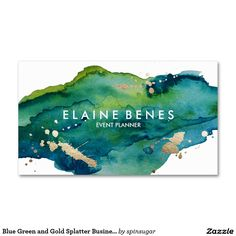 Rich blue green watercolor business card with splatters of faux gold foil