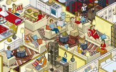 La familia sofá. 10 familias y sus casas para la campaña rusa de Ikea. Imagen del libro. Image © Rod Hunt. Señala encima de la imagen para verla más grande.