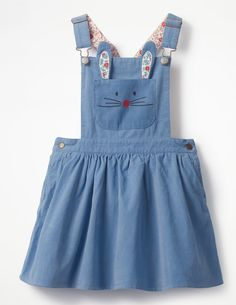 This versatile dress is perfect for fun-packed days. The textured cord fabric is soft to the touch, while poppers make it easy to slip in and out of between play dates. Choose from three bright options, each with a pretty floral lining, and layer up with leggings on chillier days. The Penzance Blue option has an embroidered bunny face on the pocket - hop to it.