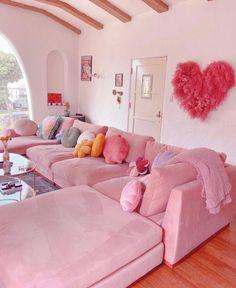 Pastel Room, Pink Room, Pastel Living Room, Room Ideas Bedroom, Bedroom Decor, Cute Room Decor, Aesthetic Room Decor, Dream Home Design, Dream Rooms