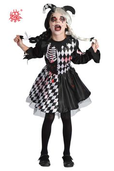 Boys Teens Evil Jester Zombie Halloween Clown Fancy Dress Costume Kids M L XL