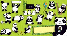Panda-mania Bulletin Board Cheer up your classroom with these playful pandas that come in many different poses. Includes a total of 17 pandas and a blank write-on/wipe-off bamboo banner for writing a personalized message, plus an activity guide. Diy Classroom Decorations, Classroom Displays, Classroom Themes, Classroom Organization, Birthday Charts, Panda Birthday, Preschool Bulletin Boards, Panda Party, Teacher Supplies