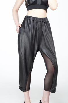 Leather Mix Sheer Trouser | Phoebe Heess | NOT JUST A LABEL
