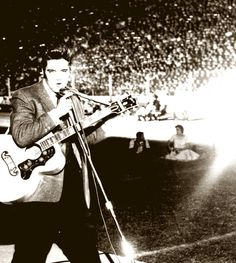 "October 11, 1956 Cotton Bowl, TX | Oct. 11, 1956: Elvis plays to a crowd of, as an Amarillo Globe News story puts it, ""26,500 teen-agers and a few moms and pops"" at the Cotton Bowl — his second-largest crowd he's played to so far.  All reviews note that screams drowned out much of Elvis' music, but the Houston Press has the best headline: ""Elvis Fans in Little D Screamed in High C.""  Read more here: http://www.star-telegram.com/living/article63614957.html#storylink=cpy"