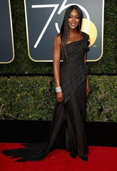 Naomi Campbell & Common Hit the Red Carpet at Golden Globes Photo Naomi Campbell and Common look chic on the red carpet at the 2018 Golden Globe Awards held at the Beverly Hilton Hotel on Sunday (January in Beverly Hills, Calif. Sharon Stone, 50 Fashion, Fashion 2018, Fashion Dresses, Fashion Looks, Fashion Trends, Naomi Campbell, Ellie Saab, Dolce & Gabbana