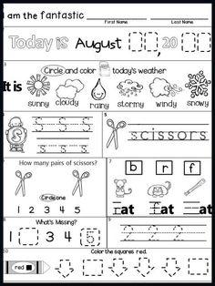 Kindergarten Morning Work Free Sample