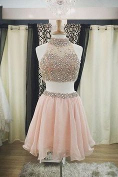 Blush Pink Homecoming Dresses,Beaded Homecoming Dresses,Two Pieces Homecoming Dresses,Sexy Beaded Two Pieces Party Dresses,Halter Neckline Homecoming Dress