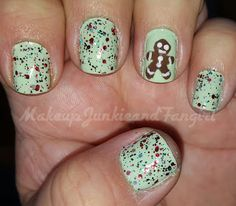 Makeup Junkie and Fangirl: Christmas/Holiday Mani #3: Green Tease and Holiday...