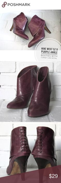 Nine West Sz 9 Purple Ankle Booties These purple booties are a great accent piece. Wear with your favorite jeans or even a dress. These shoes do show signs of wear such as creases in the leather and scuffs and scratches. Please see the photos for more details. Nine West Shoes Ankle Boots & Booties