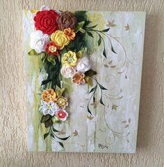 Cascata de flores. Tela 40 x 50 cm em MDF, textura com massa corrida, pintura com tinta PVA e flores de crochet