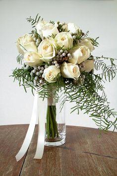 Cream Garden Rose Bridal Bouquet by Living Fresh on http://WedOverHeels.com