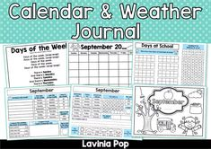 Calendar And Weather Journal Worksheets Kindergarten Calendar, Kindergarten Worksheets, Grade 1, First Grade, School Days, Back To School, Calendar Journal, Study Help, School Resources