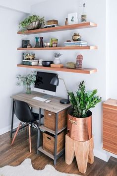 Tip for a small home office - Install wall-mounted shelves to make use of the vertical space. See more ideas in this post!