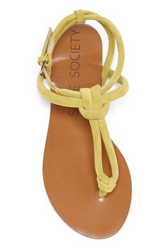 T-strap flat sandals in soft yellow suede