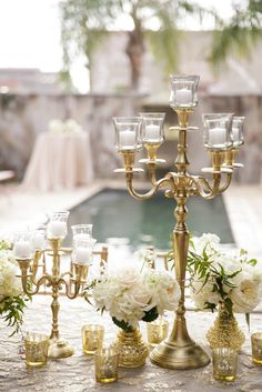 This Race & Religious wedding planned by Elyse Jennings Weddings and captured by Greer Gattuso features a sparkly gold-adorned Jenny Packham dress and florals by Kim Starr Wise. Candelabra Wedding Centerpieces, Candlestick Centerpiece, Gold Candelabra, Mod Wedding, Trendy Wedding, Wedding Table, Wedding Ideas, Wedding Inspiration, Glamorous Wedding