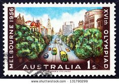 AUSTRALIA - CIRCA 1956: a stamp printed in the Australia shows Collins Street, Melbourne, Major Street in the Melbourne Central Business District, circa 1956 - stock photo