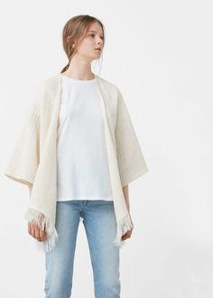 Capa algodón flecos - Cárdigans y jerséis de Mujer | MANGO España