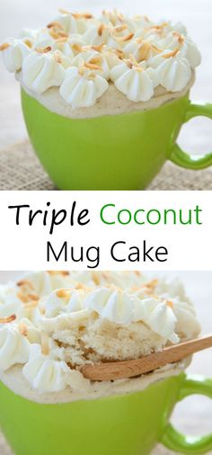 Coconut Mug Cake Triple Coconut Mug Cake. A deliciously easy single serving microwave cake for coconut lovers!Triple Coconut Mug Cake. A deliciously easy single serving microwave cake for coconut lovers! Microwave Mug Recipes, Mug Cake Microwave, Microwave Cookies, Microwave Desserts, Microwave Meals, Food Truck, Just Desserts, Delicious Desserts, Dessert In A Mug